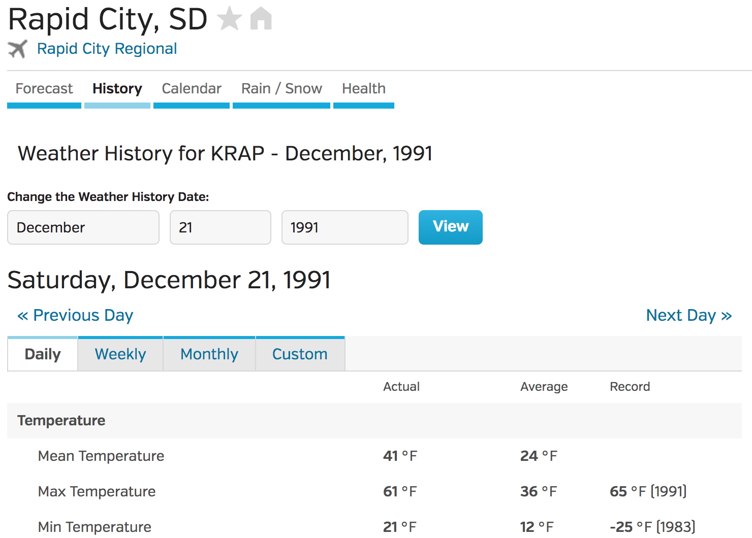 weather underground screen shot for weather in Rapid City, South Dakota on December 21, 1991