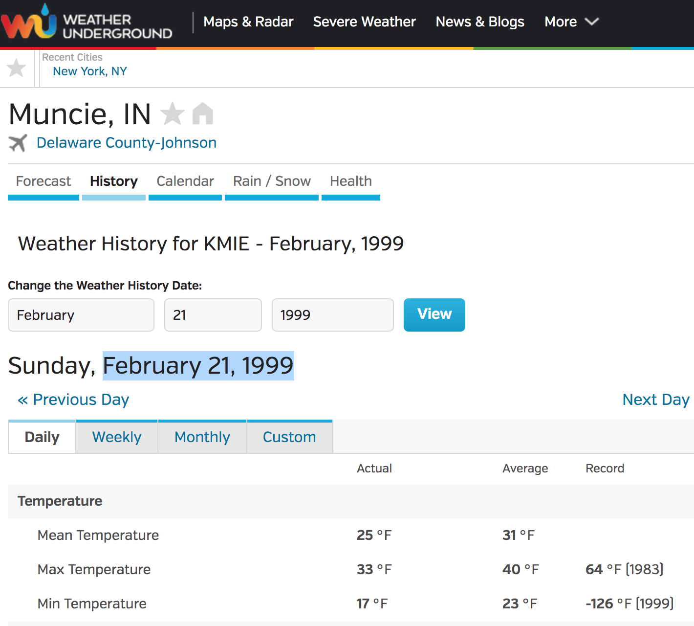 weather underground screen shot for weather in Muncie, Indiana on February 21, 1999 showing a record low of -126